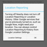 Location reporting screenshot