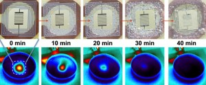 Optical (and corresponding IR) images of the dissolution of implant device (top row: powering induction coil with resistor/heater