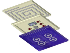 mplantable biosensor chip with three layers: a passive sensing platform (bottom), integrated circuits (middle) to analyze electrochemical measurements and generate a Bluetooth signal, and a coil (top) for through-the-skin data transmission and power via an external battery