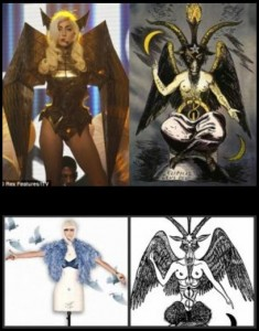 Lada Gaga as the androgynous horned god Baphomet