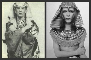 Bowie imitating his mentor Crowley in magickal Egyptian dress